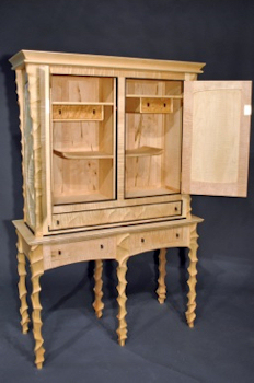 Spanish Carved Case with drawers open